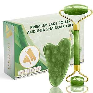 Arclogy Jade Roller and Gua Sha Scraper Jade Face Roller Set (Green) - £7.21 (+£4.49 Non Prime) @ Sold by G BRITAIN and Fulfilled by Amazon.