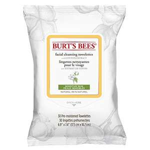 Burt's Bees Facial Cleansing Towelettes, Pack of 30 Wipes - £2.13 / £1.39 via S&S (+£4.49 Non-Prime) @ Amazon
