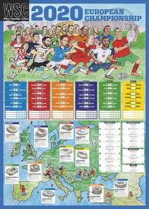 Euro 2020(1) A2 Football Fixtures Wall Chart - £1.95 Free Delivery @ WSC