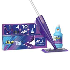 Flash Powermop Starter Kit, Mop + 10 Absorbing Refill Pads + 500 ml Cleaning Solution + 4 Batteries, Fresh £20.95 delivered @ Amazon
