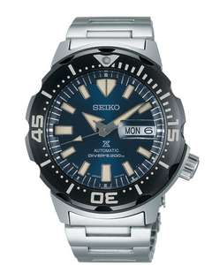 Seiko Prospex Monster Bold Bezel Diver Silver Stainless Steel Blue Dial Automatic Men's Watch SRPD25K1 £290 @ WatchNation