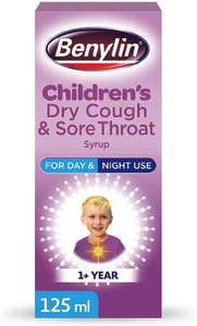 Benylin Children'S Dry Cough and Sore Throat Syrup, 125ml £1.99 (£4.49 p&p non prime) 15% voucher & s&s £1.59 @ Amazon