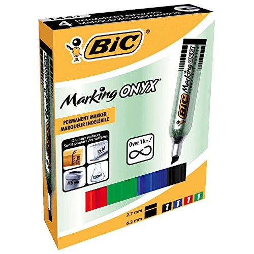BiC ONYX Mini Permanent Marker Chisel Tip, Assorted Pack of 4 - 97p Prime (+£4.49 Non Prime) @ Amazon