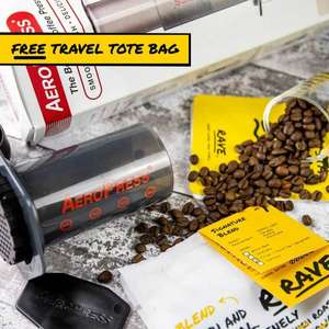 Aeropress Gift Set with Rave Coffee, filters and a free tote bag! - £29.30 @ Rave Coffee