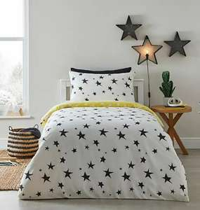 Stars Reversible Duvet Cover and Pillowcase Set £7 cot Bed £8 Single £10 Double with Free Click and collect from Dunelm