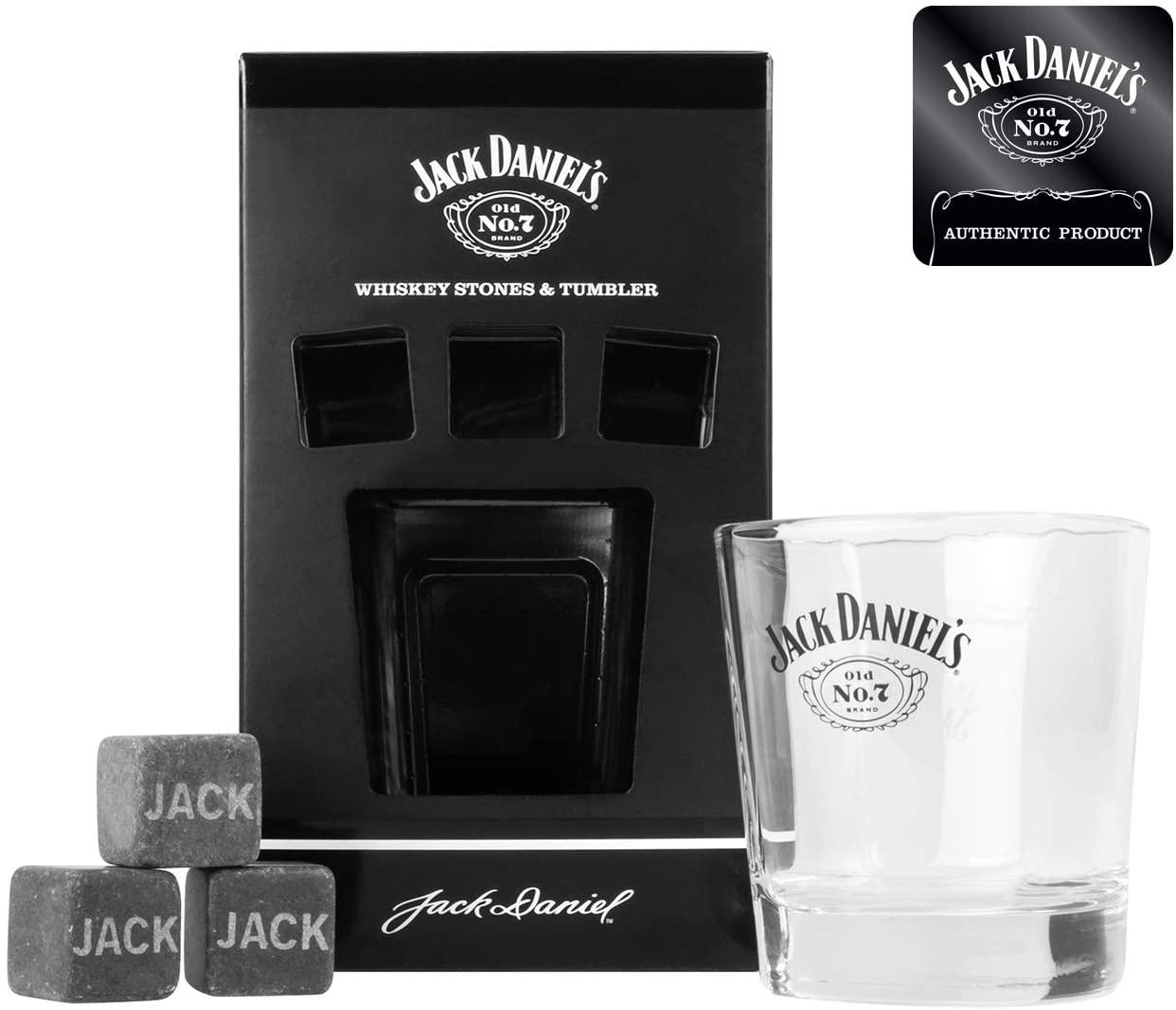 Jack Daniel's Whisky Glass Tumbler and 3 x Whisky Stones £5.61 (Prime) + £4.49 (non Prime) at Amazon