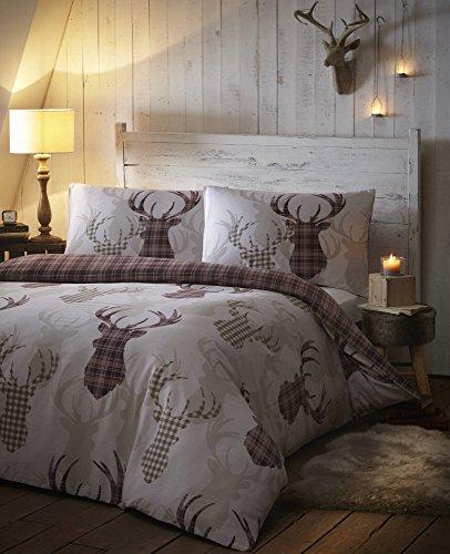 De Cama Tartan Check Stag Double Duvet Quilt Cover Bedding Set Natural & Brown £13.83 (Prime) + £4.49 (non Prime) at Amazon