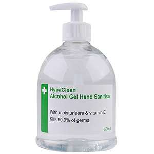 Safety First Aid Group HypaClean Alcohol Hand Sanitiser Gel (500 ml) 75p (+£4.49 non-prime) @ Amazon
