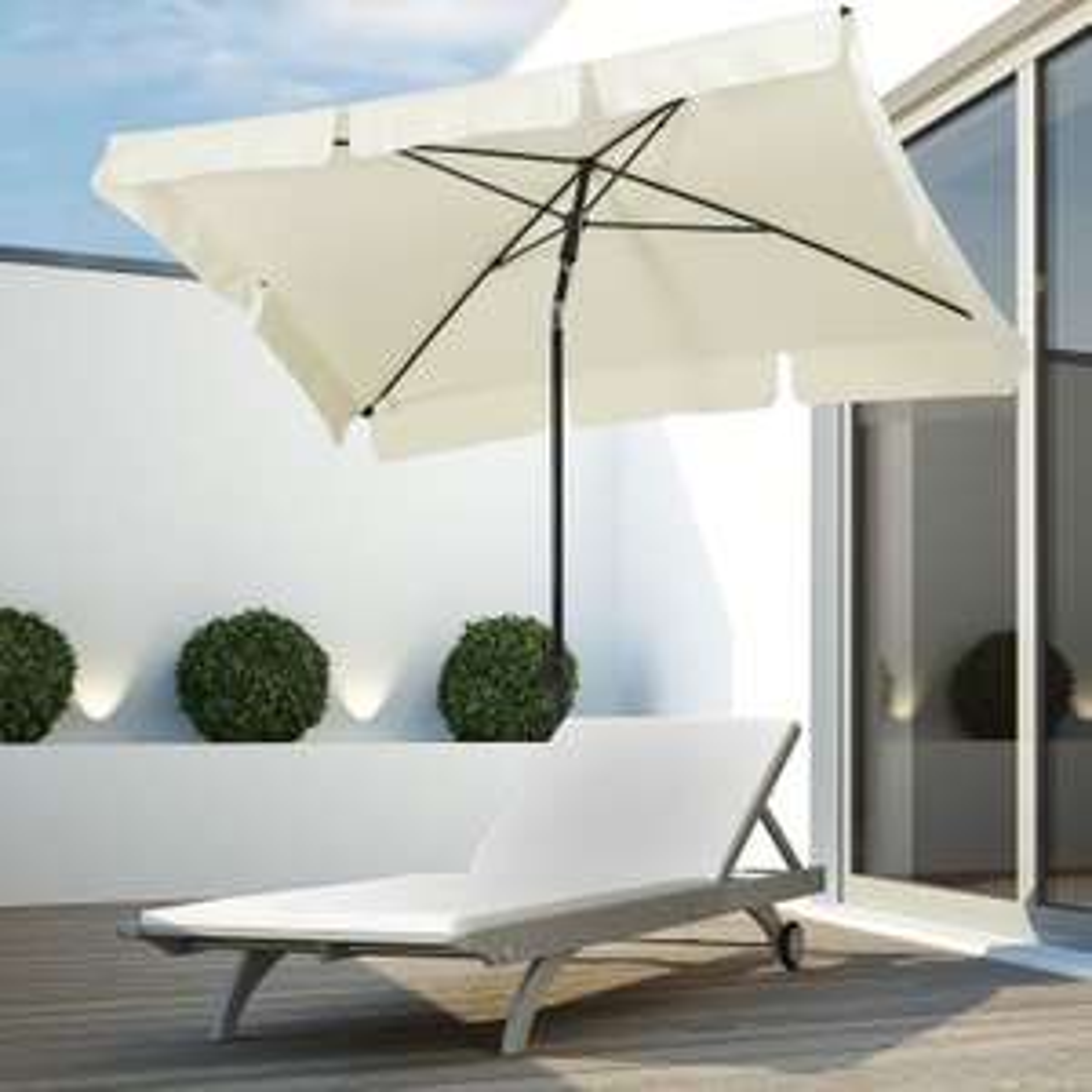 Outsunny square umbrella parasol in cream fabric with aluminium frame for £31.07 delivered using code @ Aosom