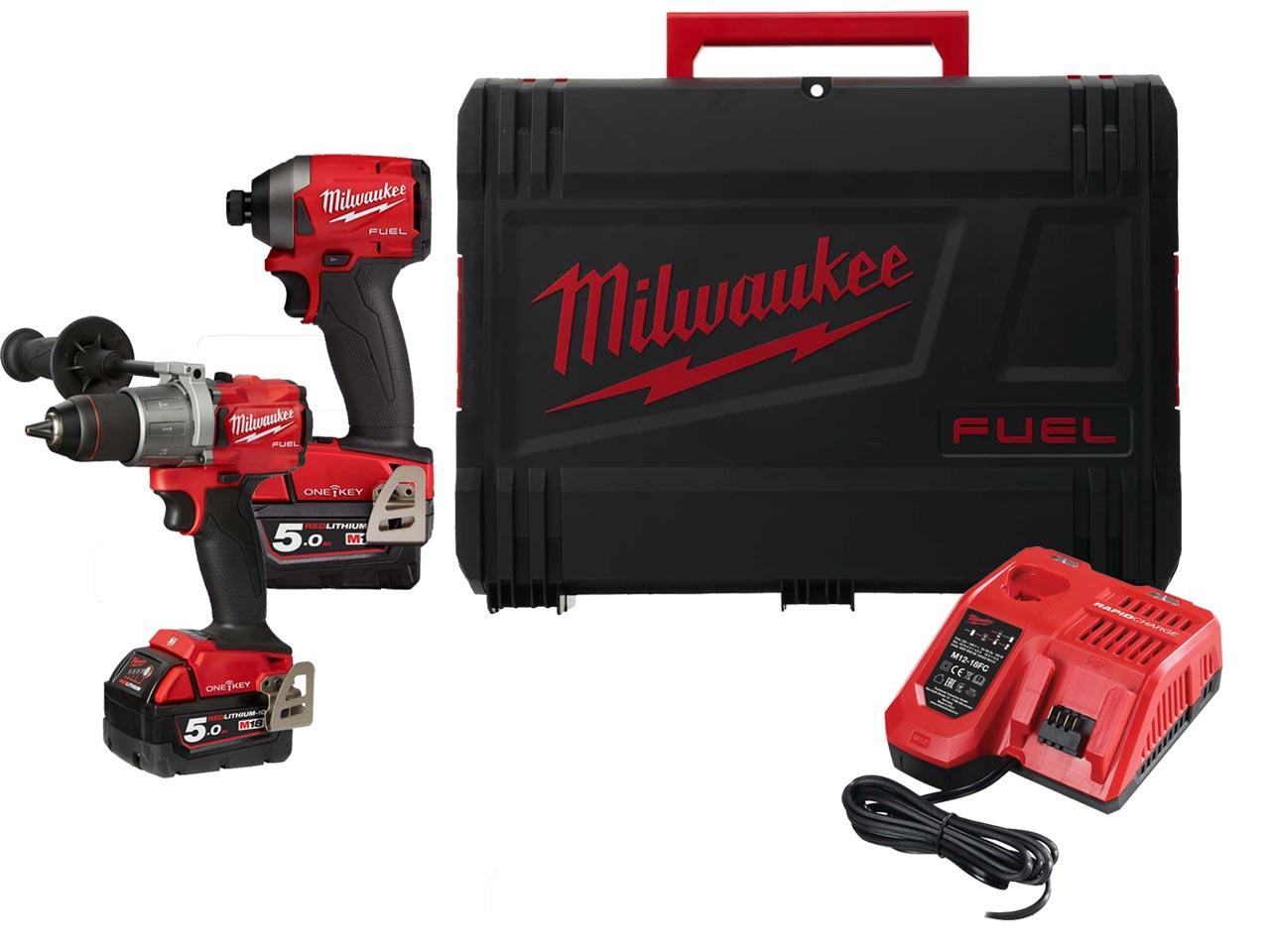 Milwaukee 18V Combi & Impact M18ONEPP2A2-502X 2x5.0Ah Li-ion FUEL ONE-KEY Twin Pack £389 at FFX