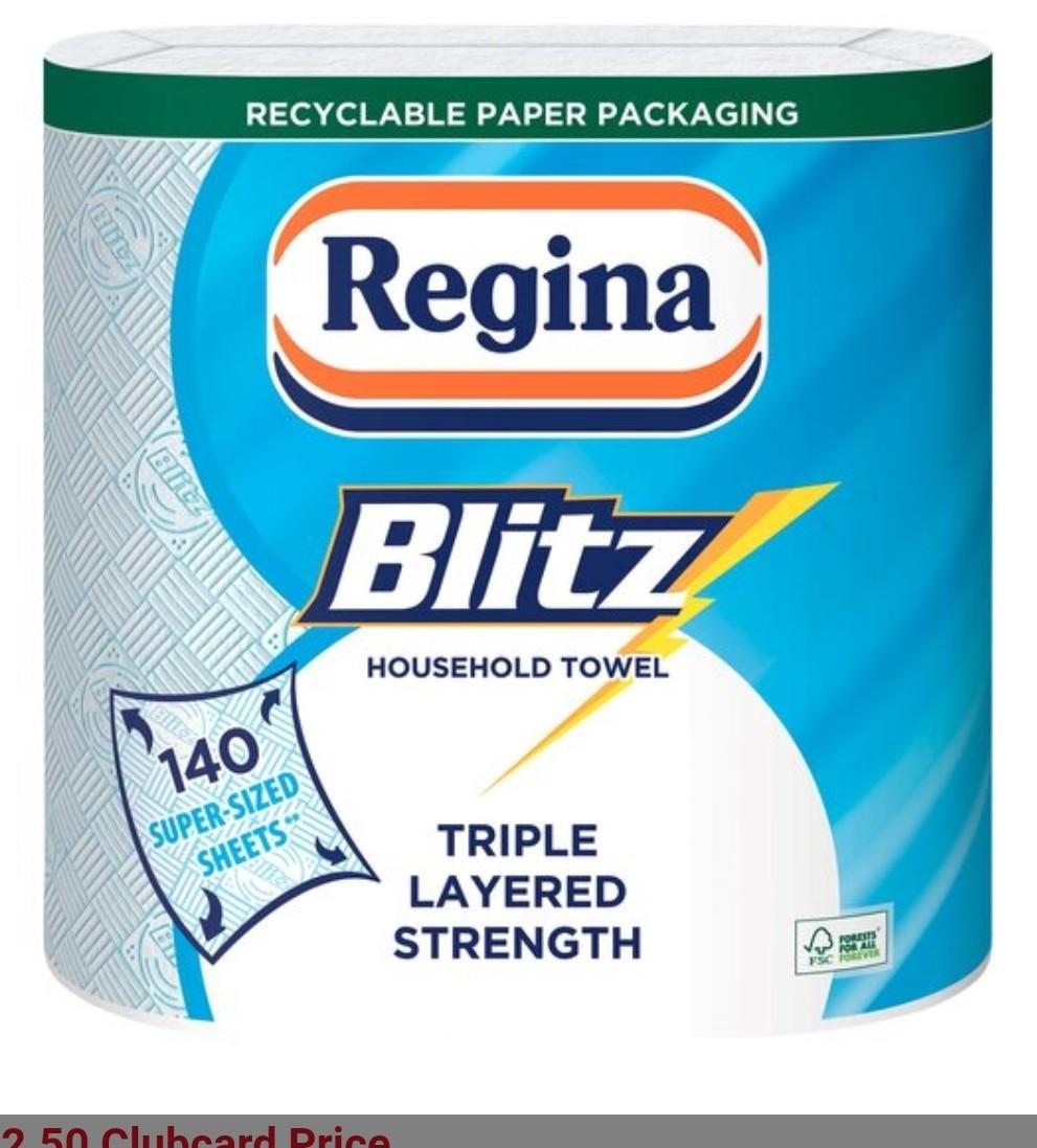 Regina Kitchen Towels Blitz 2 Rolls £2.50 (Clubcard price) @ Tesco