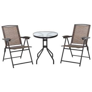 Outsunny 3-piece portable garden furniture bistro set with sling fabric in brown for £109.19 delivered using code @ Aosom