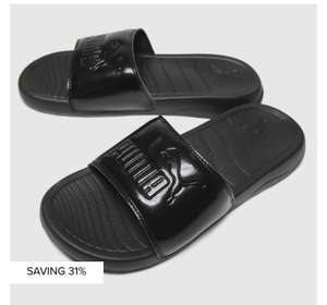 PUMA black popcat 20 Womens sliders £14.99 @ Schuh sizes 3-8 Students get extra 10% off sale Free click & collect