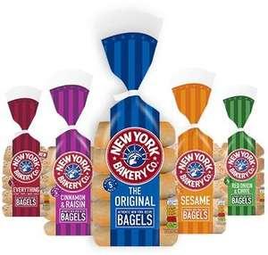 New York Bakery Bagels 5 pack (Original / Sesame / Red Onion & Chive / Cinnamon & Raisin) - £1 @ Asda