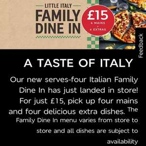 Marks and Spencer dine in - 4 mains and 4 sides for £15
