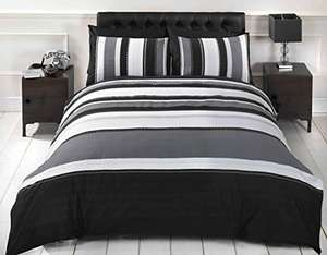 Rapport Striped Grey Single Quilt Duvet Cover & Pillowcase Bed Set Adults Teenagers £7.50 (Prime) + £4.49 (non Prime) at Amazon