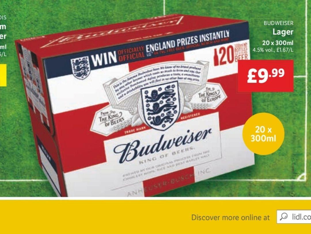 Lidl - 20x300ml Budweiser for £9.99