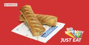 Free Sausage Roll When Ordering £5 Food @ Greggs Via Just Eat