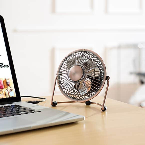 """4"""" USB Copper Desk Fan £5 (Free Collection) @ Dunelm"""