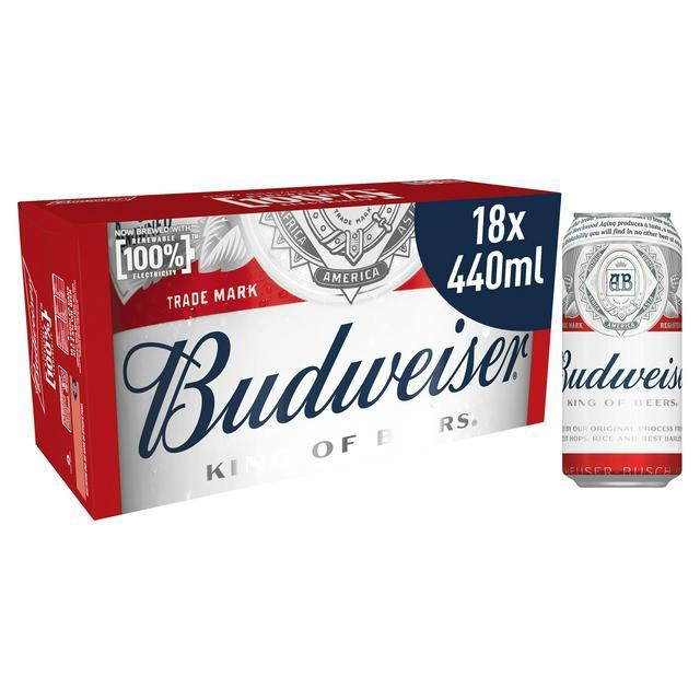 Budweiser 18x 440ml cans - £9.07 instore @ Sainsbury's, North Walsham