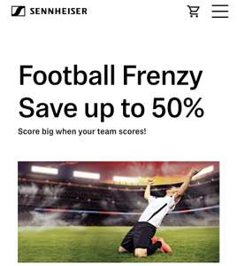Sennheiser up to 50% off with code based on goals scored - Minimum discount seems to be 20%. Max is 50%