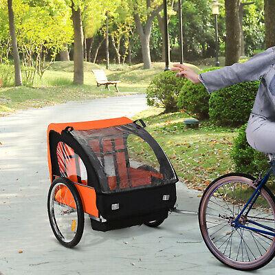 HOMCOM 2-Seat Child Bike Trailer Kid Stroller w/ Steel Frame Seat Belt Orange - £79.19 using code (UK Mainland) @ mhstarukltd eBay