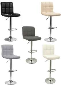 Chrome Metal Base & Gas Lift Faux Leather Kitchen Breakfast Bar Stool Swivel £28.79 delivered with code @ neodirect / ebay