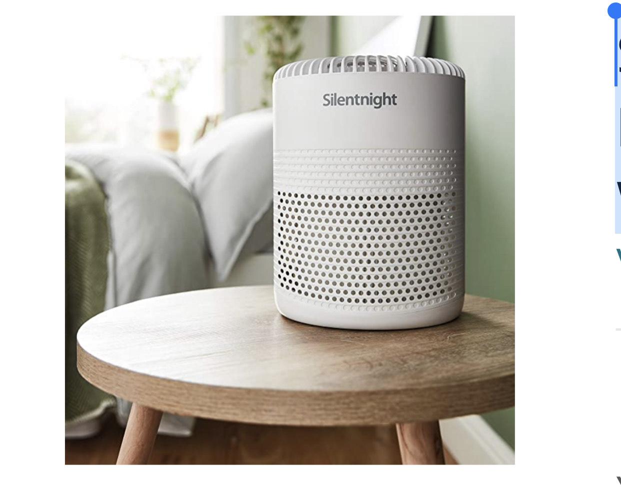 Silentnight 42269 Air Purifier with HEPA Filter Night Light, Plastic, 7.5 W [Energy Class A+++] - £38.43 @ Amazon