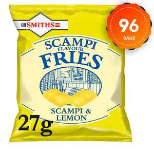 96 Bags Smiths Savoury Snacks Scampi & Lemon Fries 27g for £37.49 delivered using code (UK Mainland) @ eBay / walkers_crisps_official_store