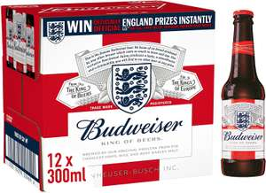 Budweiser Lager Beer Bottle, 12 x 300ml - £9 (+£4.49 Non Prime or £1.55 off 1st S&S) @ Amazon