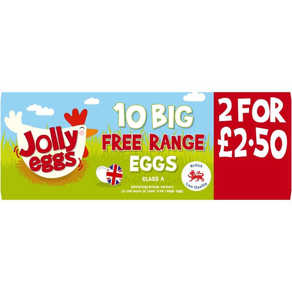 Iceland Jolly Eggs 10 Big Free Range Eggs 2 for £2.50 @ Iceland