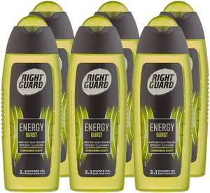 Right Guard Mens 3-in-1 Shower Gel, Energy Burst Body, Face/Hair Wash 6 x 250ml £5.33 @ Amazon (£4.49 p&p non prime) voucher and s&s £4.27