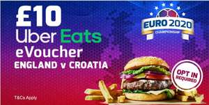Place a £10 bet on England vs Croatia and get a £10 UberEats voucher (Selected Accounts / Opt In Required) @ Betfred