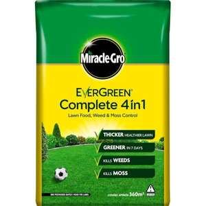 Miracle-Gro EverGreen Complete 4-in-1 Lawn Food, Weed & Moss Killer - 360m2 - £12.50 (Free Click & Collect) @ Homebase