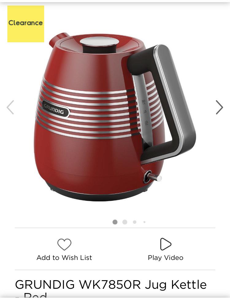 GRUNDIG WK7850R Jug Kettle - Red £30 @ Currys PC World
