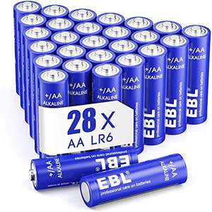 EBL AA Batteries 1.5V Alkaline Pack of 28 £3.99 Prime (+£4.49 non Prime) Sold by EBL Official and Fulfilled by Amazon