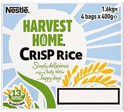 Nestle Harvest Home Crisp Rice Cereal Bag, 400 g,( Pack of 4). £3.95 @ Amazon (£4.49 p&p non prime)