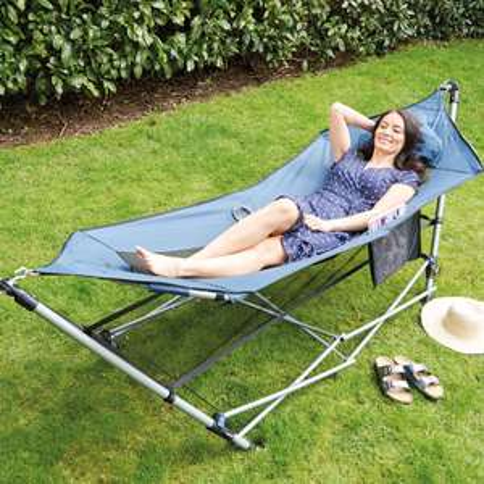 Portable Hammock With Stand + 3 Year Warranty = £39.99 (plus £3.95 postage UK Mainland) @ Aldi