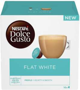Nescafe Dolce Gusto Flat White Coffee Pods (Pack of 3, Total 48 Capsules) £10.50 (+£4.49 Non Prime) @ Amazon