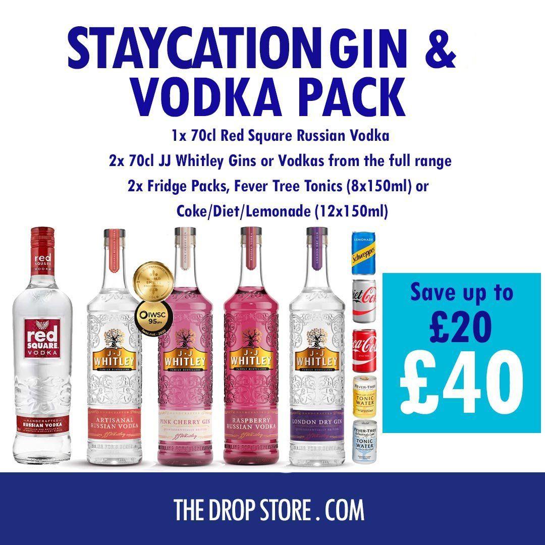 3 x Vodka or Gin + 2 x Fridge Packs 150cl Cola/Lemonade/Tonic - £40 @ TheDropStore