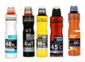 £1.40 on selected LOreal Paris Men Expert Deodorant 250ml + Free Click and collect - Beautycard Members offer @ Superdrug
