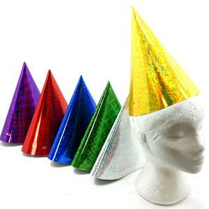 18 x Jumbo Giant Extra Large Foil Xmas Party Hats Assorted Colours £1.00 delivered Yankee Bundles