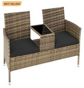 Garden bench with table in poly rattan patio set £119.99 at manomano Sold by tectake