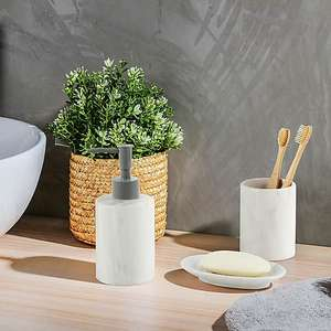 Set of 3 Marble Effect Ceramic Bathroom Accessories £4 with Free Click and collect for Dunelm