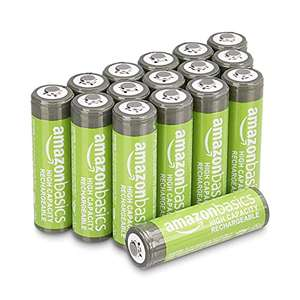 Amazon Basics AA High-Capacity Rechargeable Batteries 2400mAh (16-Pack) Pre-charged - £16.50 (+£4.49 Non Prime) @ Amazon