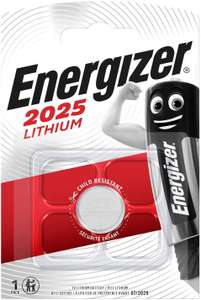 Energizer CR 2025 Lithium Battery - Pack of 1 - 54p Prime (+ £4.49 non Prime) (UK Mainland) Sold by Amazon EU @ Amazon