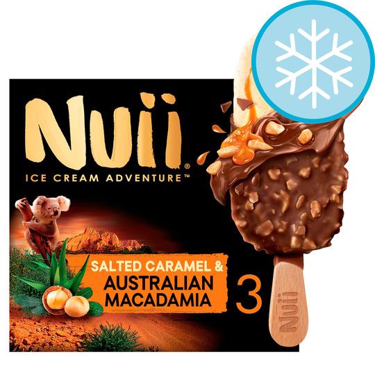 Nuii Salted Caramel Macadamia Ice Cream Sticks 3X90ml £2 club card price @ Tesco