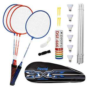Airsnigi 4-Player badminton set with net, six shuttlecocks, and four racquets for £29.99 delivered @ cassetly / Amazon