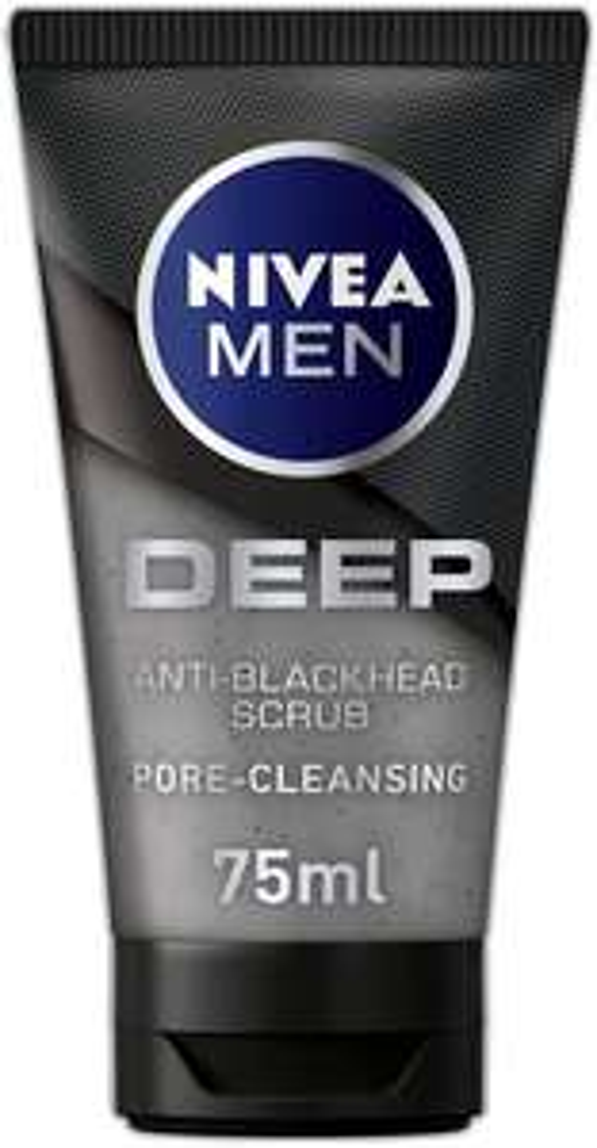 NIVEA MEN DEEP Anti-Blackhead Scrub (75 ml) £2.43 + £4.49 p&p non prime (Select accounts voucher & s&s £1.95) @ Amazon