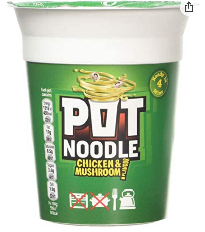Pot Noodle Chicken & Mushroom, 90g 50p prime / £4.99 non prime @ Amazon